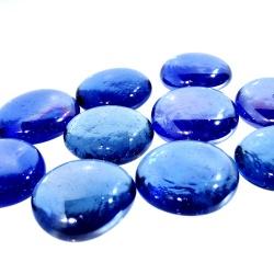 Kaboszony duże - oczka szklane 22 niebieskie z iryzacją, 200g