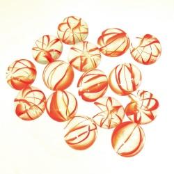 Kaboszony - oczka szklane 15 bezbarwne z pomarańczową smugą oczka pomarańczowe
