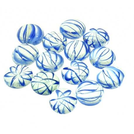 Kaboszony - oczka szklane 16 bezbarwne z niebieską smugą, 200g