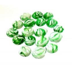 Kaboszony - oczka szklane 1 bezbarwne z zieloną smugą, 200g