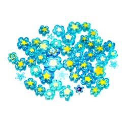 """Koraliki Millefiori 100g """"niebieskie kwiatki"""""""