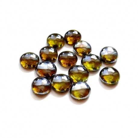 Kaboszony - oczka szklane 03 żółto-oliwkowe, 200g
