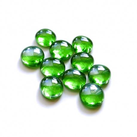 Kaboszony - oczka szklane zielone 05a kamienie szklane