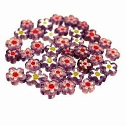 "Koraliki Millefiori 100g ""fioletowe kwiatki"""