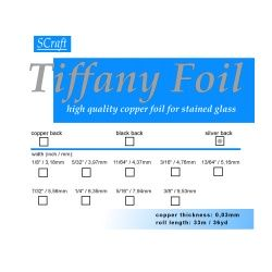 """Taśma miedziana Tiffany 5,56mm 7/32"""", srebrny spód"""