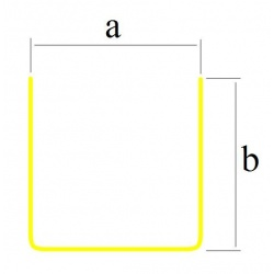 Profil blaszany, mosiężny U 4x4