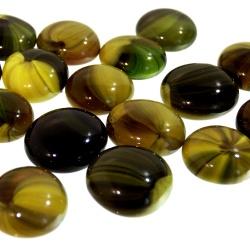 Kaboszony - oczka szklane 03 żółto-oliwkowe, 200g, żółte kamienie szklane